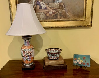 Asian Porcelain Lamp, Vintage Oriental Lamp with Silk Shade, Wooden Footed Base, Peach White Green Blue Colors, Asian Decor,
