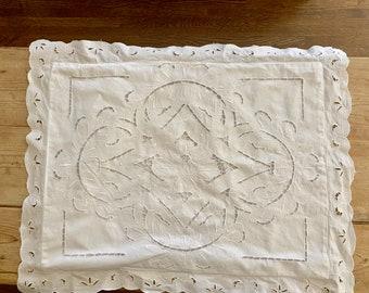 White Battenburg Pillow Sham, Vintage Single Battenburg Sham, Standard Size, Cottage Farmhouse Bedding