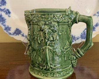 Bordallo Pinheiro Green Pitcher, Portuguese Green Majolica Pitcher, Grape Relief Design Water Pitcher, Vintage Portuguese Majolica Pottery,