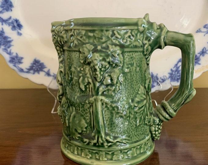 Featured listing image: Bordallo Pinheiro Green Pitcher, Portuguese Green Majolica Pitcher, Grape Relief Design Water Pitcher, Vintage Portuguese Majolica Pottery,