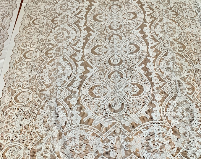Featured listing image: Ecru Lace Drapery Panel, 2 Panels Available, Each Sold Separately, Creamy White Lace Panel, French Country Cottage Farmhouse Decor