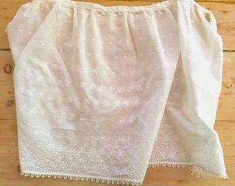 Sheer Ivory Eyelet Apron with Tatting, Bridal Gift, Kitchen Shower Gift,  Vintage Cottage Chic, Farmhouse Half Apron