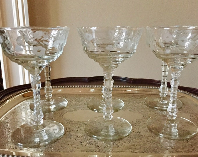 Featured listing image: Rock Sharpe Crystal Coupe Champagne Stems, Set of 6 Tall Coupe Champagne Pattern Halifax, Gray Cut Floral Pattern, Bridal Gift