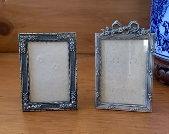 Small Pewter Frames, Set of 2 Mini Photo Frames, 2 x 3 Inch Image Size, Child's Photo Frame, Sold as Set of 2