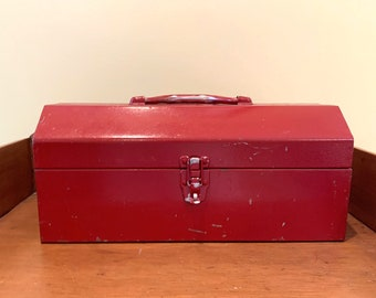Red Metal Box, Red Tool Box, Vintage Handled Tool Box, Craft Storage, Tool Storage, Cottage Farmhouse Decor