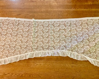 Lace Valance, Ivory Floral Lace Valance with Ruffled Hem,  36 x 94 inches, Cottage Farmhouse Window Treatment,