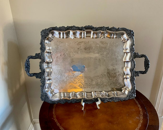 Featured listing image: Vintage Butler's Tray, Large Silver Plate Tray with Handles, Rustic 25 Inch Footed Silver Plate Serving Tray, Barware Tray, Decorative Tray