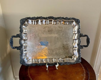 Vintage Butler's Tray, Large Silver Plate Tray with Handles, Rustic 25 Inch Footed Silver Plate Serving Tray, Barware Tray, Decorative Tray