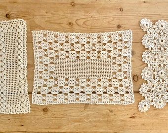 White Crochet Doilies Set of 3, Rectangle Crochet Doilies, Cottage Farmhouse Table Linens, Craft Sewing Supplies