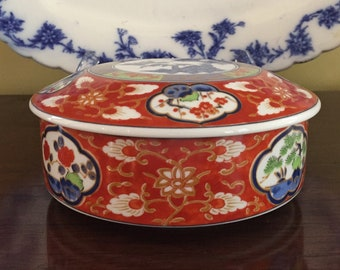 Round Imari Box, Vintage Japanese Porcelain Round Trinket Box, Asian Bowl with Covered Lid, Imari Gift Idea, Chinoiserie Bowl