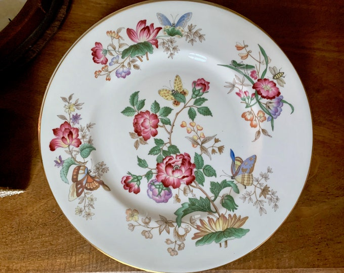Featured listing image: Wedgwood Charnwood Dinner Plate, 8 Plates Available Each Sold Separately, English Fine Bone China, Floral Butterflies, Gold Trim