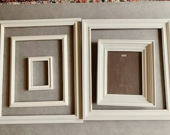 Five Vintage White Frames, Hand Painted Frames with Glass, Photo Frames, Craft Frames, Sold as Set of 5, Cottage Farmhouse