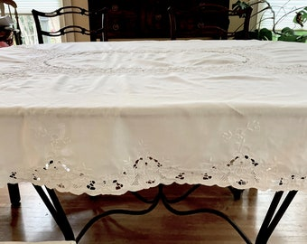 White Battenburg Tablecloth, 64 x 80 Inches, Embroidered Floral Design, Holiday Table Linens, French Country Cottage