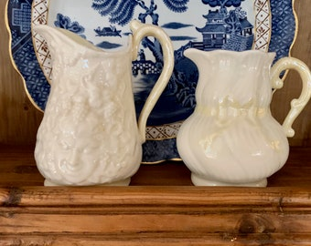 Two Belleek Creamers, Ribbon Pattern Belleek Creamer, 6th Green Mark, Bacchus Mask Creamer, Black Mark, Sold as Set