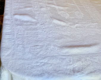 White Damask Tablecloth, Vintage Damask Linen Tablecloth, 68 x 84 Inches, French Country Cottage Farmhouse Table Linens, Free Shipping