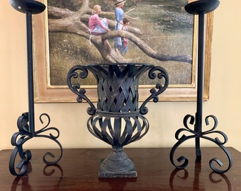 Black Iron Urn, French Style Metal Urn Centerpiece, Iron Flower Container Basket Weave Design Chippy Paint,  French Country Decor