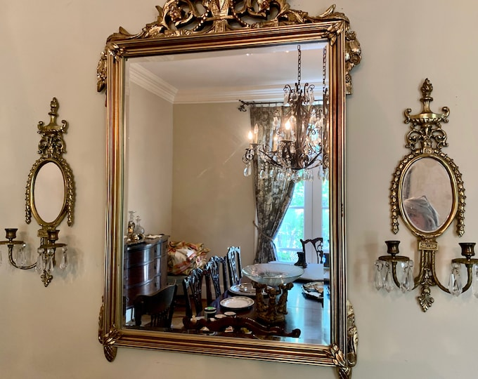 Featured listing image: Brass Mirrored Candelabra Sconces, Pair French Style Chandelier Candle Sconces, Beveled Mirror 2 Light Candelabra Sconces, French Country
