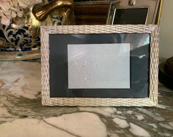 Silver Plate Frame with Mat, 3.5 x 5.5 Image, Silver Picture Frame with Woven Design,  Silver Wedding Photo Gift Idea, Baby Photo Frame