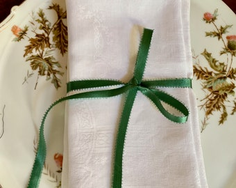 Damask Napkins Set of 6, Large White Linen Dinner Napkins 20 inch,  Vintage Damask Table Linens, Holiday Dining