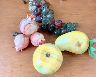Stone Fruit Collection, Vintage Alabaster Fruit Set of 3, Stone Pear Pomegranate Apple, Acrylic Grapes, Collection Fruit Bowl Display