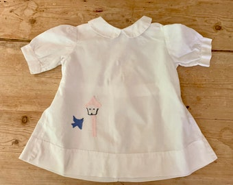 Vintage Infant Dress, Embroidered Bluebird, Handmade 60's Baby Dress, White Cotton Infant Dress, Baby Shower Gift, Unique Baby Gift