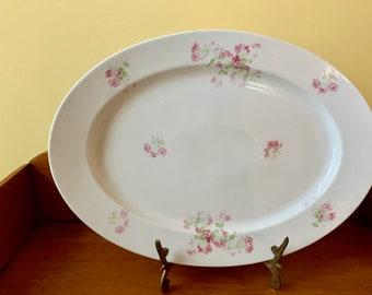 Large Bavarian Platter, Vintage Henrich Selb Bavarian Porcelain Tray, Pink and White Floral 16 Inch Platter,  Cottage Farmhouse