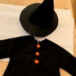 Vintage Witches Outfit, Child's Doll Witches Dress with Hat, Handmade, Halloween Costume or Decor
