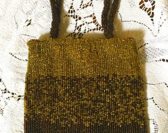 Bronze Beaded Bag, Small Evening Bag, Tiny Beads, Beaded Handle, Bronze Colored Vintage Cache Bag, After 5 and Wedding Attire, Vintage Purse