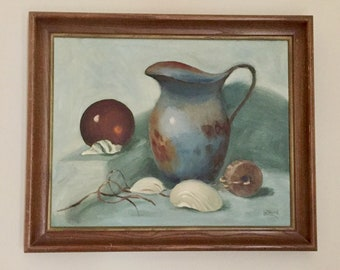 Original Still Life Painting, Vintage  16 x 20 Oil on Canvas, Mid Century Signed and Dated 1963,  Signed Le' Nard Hanes, Blue Brown Tones