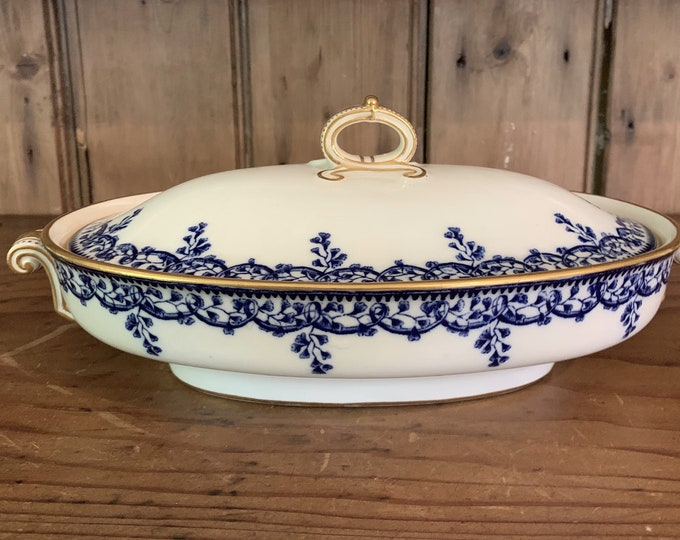 Featured listing image: Antique Copeland Beatrice Covered Vegetable, T.Goode & Co. London, Blue White Porcelain Covered Vegetable with Gold Trim, Blue White China