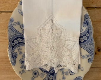 White Battenburg Tea Towel, Vintage Guest Hand Towel,