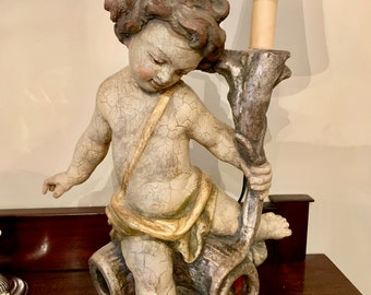 Italian Cherub Lamp, Carved Wooden Italian Putti Lamp with Shade,  Plaster over Wood Cherub Table Lamp, Cherub Sconce, French Country