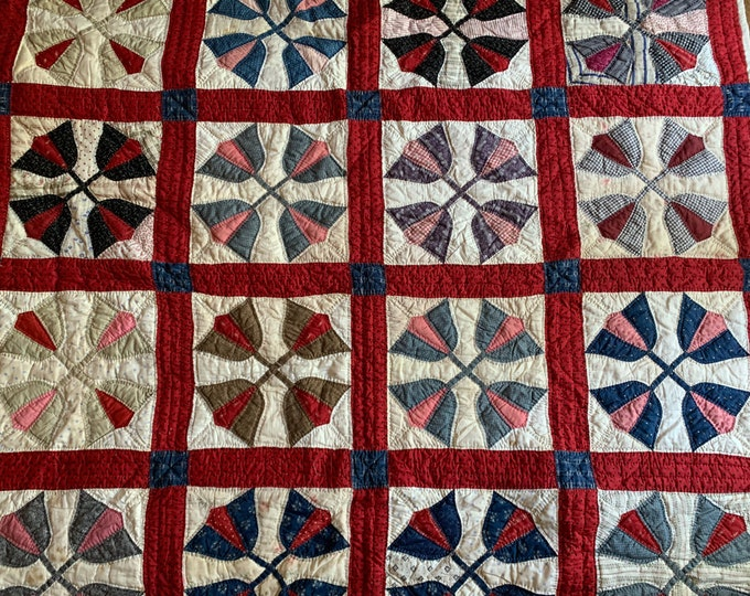 Featured listing image: Handmade Tulip Quilt, Vintage Blue Red Black Pieced Tulip Quilt, Feed Sack, Handmade Pieced Quilt Tulip Pattern, Country Farmhouse Decor