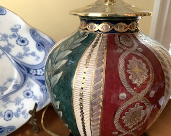 Chinoiserie Ginger Jar Lamp,  Jewel Tone Colors, Emerald Green Burgundy Navy Blue Gold, Wood Base, Asian Decor, English Country
