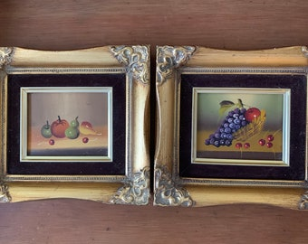 Still Life Paintings, Pair Vintage Mini Still Life Artwork, Framed Mid Century Fruit Paintings, French Style Frames, 3.5 x 4.5 image