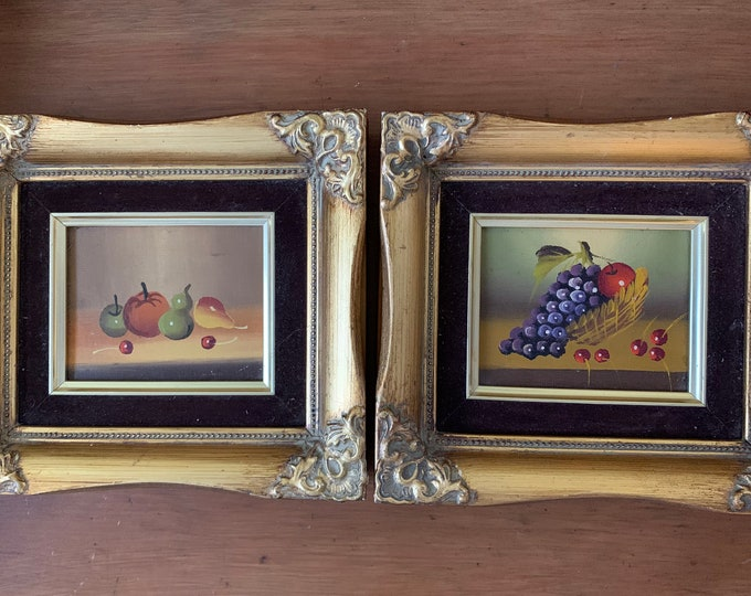 Featured listing image: Still Life Paintings, Pair Vintage Mini Still Life Artwork, Framed Mid Century Fruit Paintings, French Style Frames, 3.5 x 4.5 image