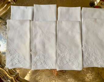 Battenburg Napkins, Set of 8 White Cotton Battenburg 14.5 Inch Dinner Napkins, Cottage Farmhouse Table Linens, White Table Linens