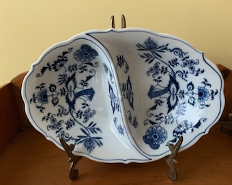 Blue Danube Oval Divide Vegetable Dish, 11 Inch Oval Serving Bowl, Blue White China, Early Blue Danube Japan,