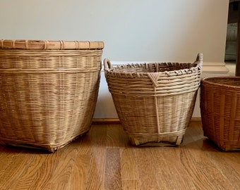 Trio Wicker Bamboo Baskets, Medium to Small Size, Natural Color Basket Planters, Set of 3 Baskets, Bohemian Eclectic Decor