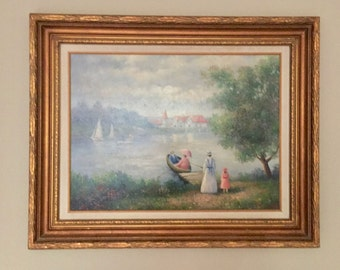 Vintage Oil on Canvas  Painting Sailing in the Park, Artist Ron Stellar, 18 x 24 inches Image, Framed, Victorian Style Family Outing