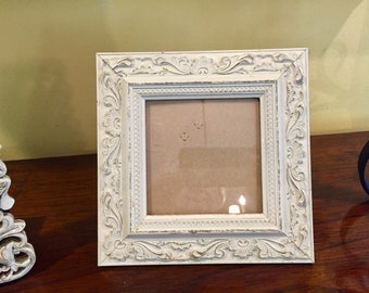 Distressed White Photo Frame, Vintage Square White Washed Shabby Cottage Picture Frame 4.5 x 4.5 Image, Cottage Farmhouse, Mother's Day Gift