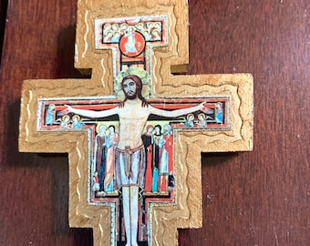 Gilded Wooden Crucifix, Small Wooden Cross, Religious Cross, Catholic Cross, Religious Gift, Vintage Byzantine Reproduction Crucifix