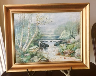 Vintage Original Painting Framed, Landscape Fisherman Painting Signed on Back, 9 x 12 Acrylic on Canvas Panel, Mid Century,