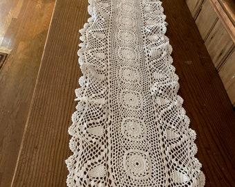 Crochet Table Runner, Long White Crochet Table Scarf, Scalloped Hem, Vintage Cottage Farmhouse Table Linens