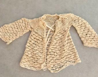 Vintage Crochet Toddler Sweater , Little Girls 1950's Handmade Cape Jacket, Doll Jacket, Child Costume Theater Clothing