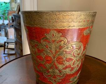Florentine Waste Basket, Vintage Italian Gilt Waste Basket, Red with Gilt Design Wooden Container, Decorative Florentine Accent Piece