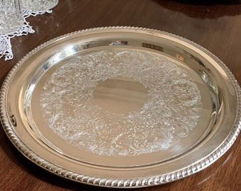 Round Silver Tray, 15 Inch Silver Plate Serving Tray, Rope Braiding Scroll Engraved Design, Barware Tray