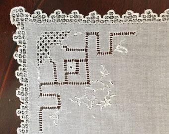 Bridal Heirloom Handkerchief, Embroidered Ladies Handkerchief Lace Trim Needlework, Heirloom Linens Bridal, Mother's Day Gift