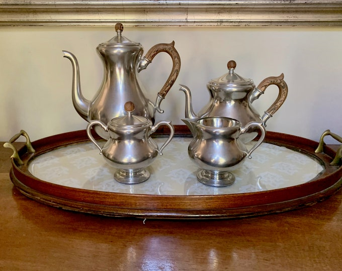 Featured listing image: Pewter Coffee Tea Service Set, 4 Piece Royal Holland Pewter Coffee Set, Excellent Condition, Mid Century Pewter Serving Set