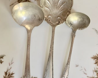 Three Antique Silver Plate Serving Utensils, Vintage Rustic Casserole Spoon Berry Spoon, Rustic Sauce Ladle and Gravy Ladle, Farmhouse